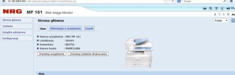 Aficio mp 161spf stoi  w miejscu mail