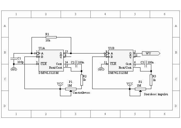 Generator przebiegu prostokątnego na 74121 lub 74123