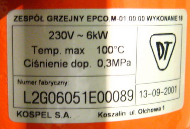 Elektryczny kocioł CO EPCO.L2F-6, wybija bezpiecznik 20A
