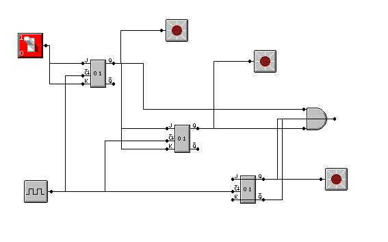 licznik synchroniczny w programie Multimedia Logic
