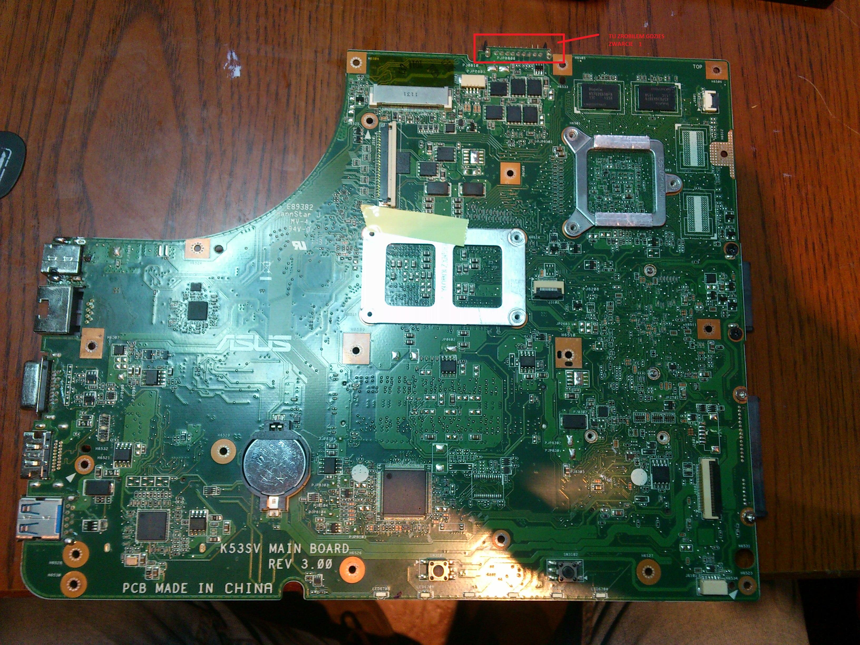 ASUS X53S Zero reakcji,brak napi�cia na przycisku power.