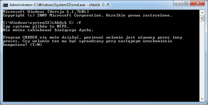 Ci�gle w��cza si� checkdisc w Windows 7 przy starcie