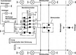 Przerywacz, przekaźnik kierunkowskazów - oznaczenia w kostce