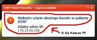 eset smart security: wykryto użycie ukrytego kanału w pakiecie icmp