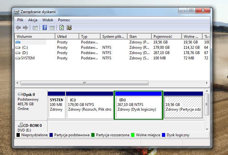 Wydzielenie partycji EXT pod Ubuntu