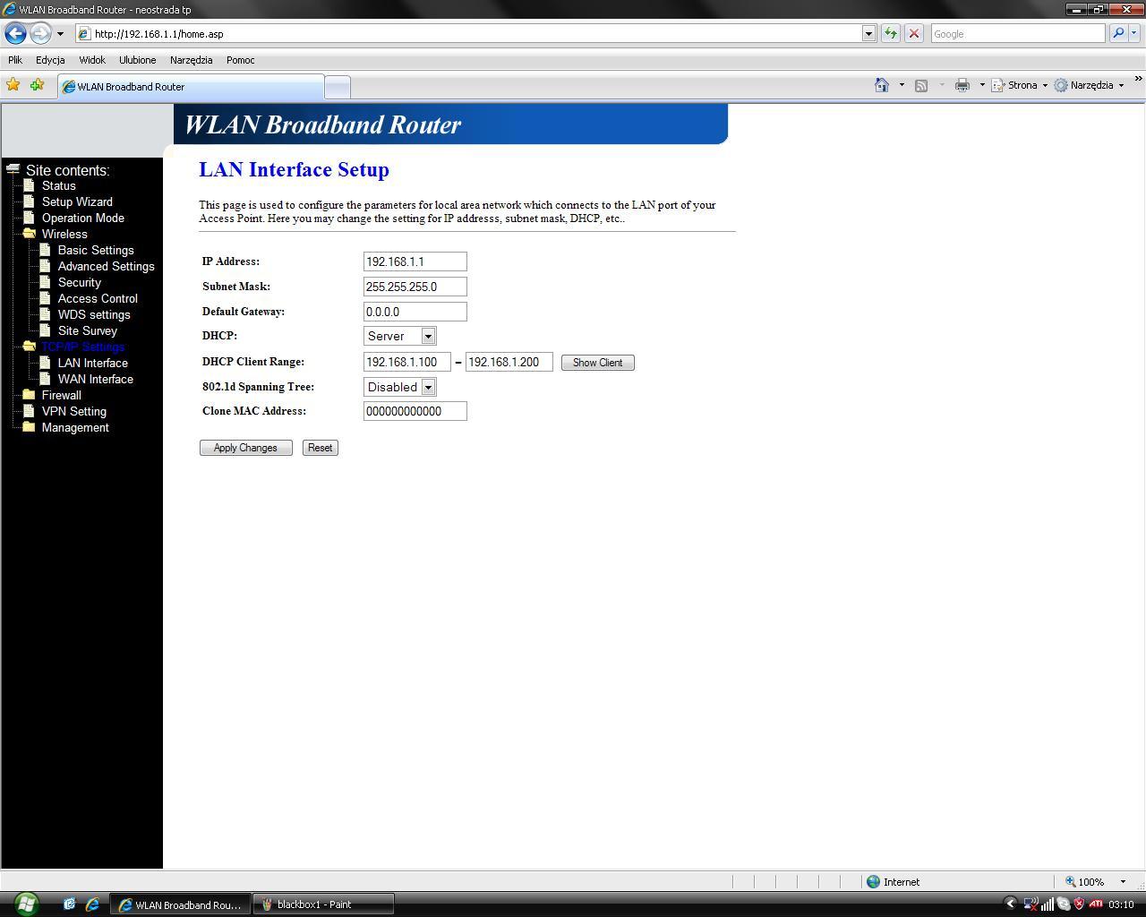 Ap-ruter brak internetu, pro�ba o sprawdzenie konfiguracji
