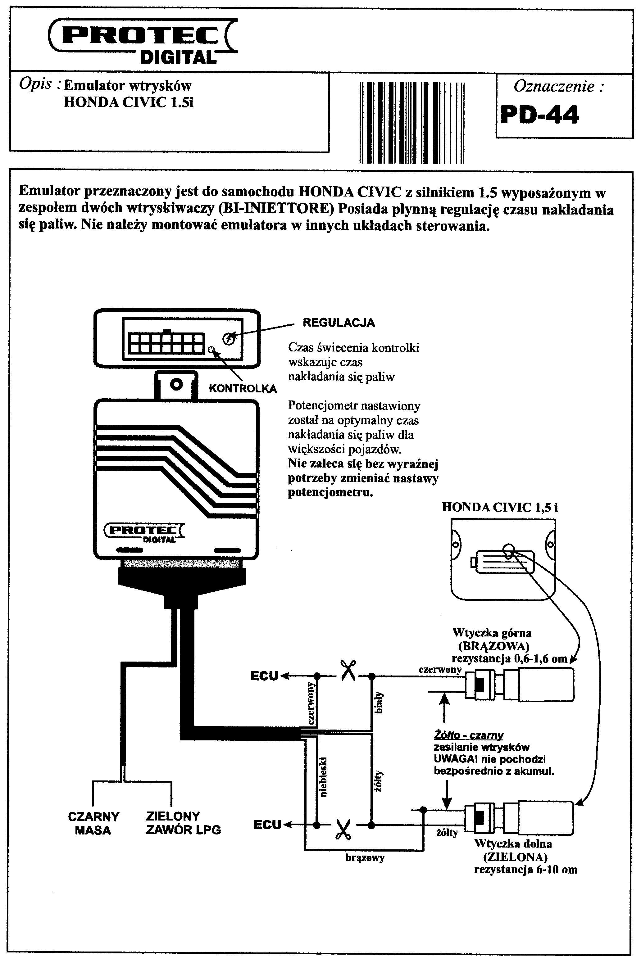 Honda civic silnik d15b2 1.5 16V emulacja wtryskow