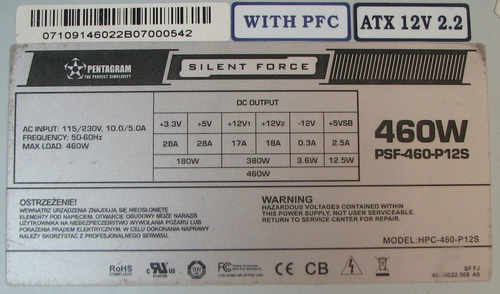 Pentagram Silent Force model: PSF-460-P12S wy��cza si� pod obci��eniem 100W.