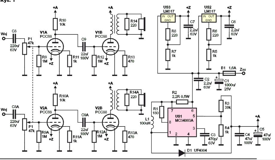 słuchawkowy wzmacniacz lampowy schemat