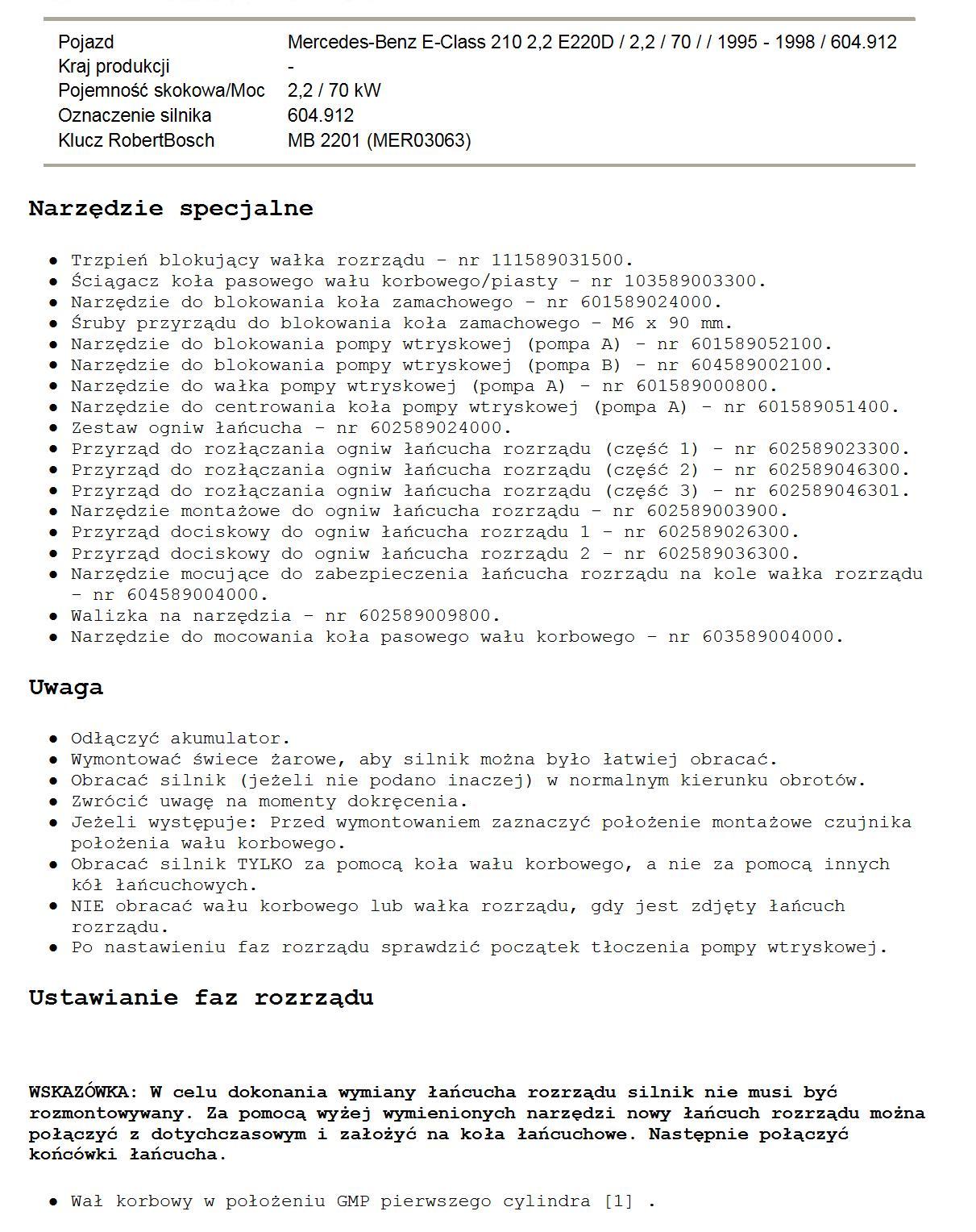 Mercedes W210220d Pompa Lukas Jak Ustawić Rozrząd