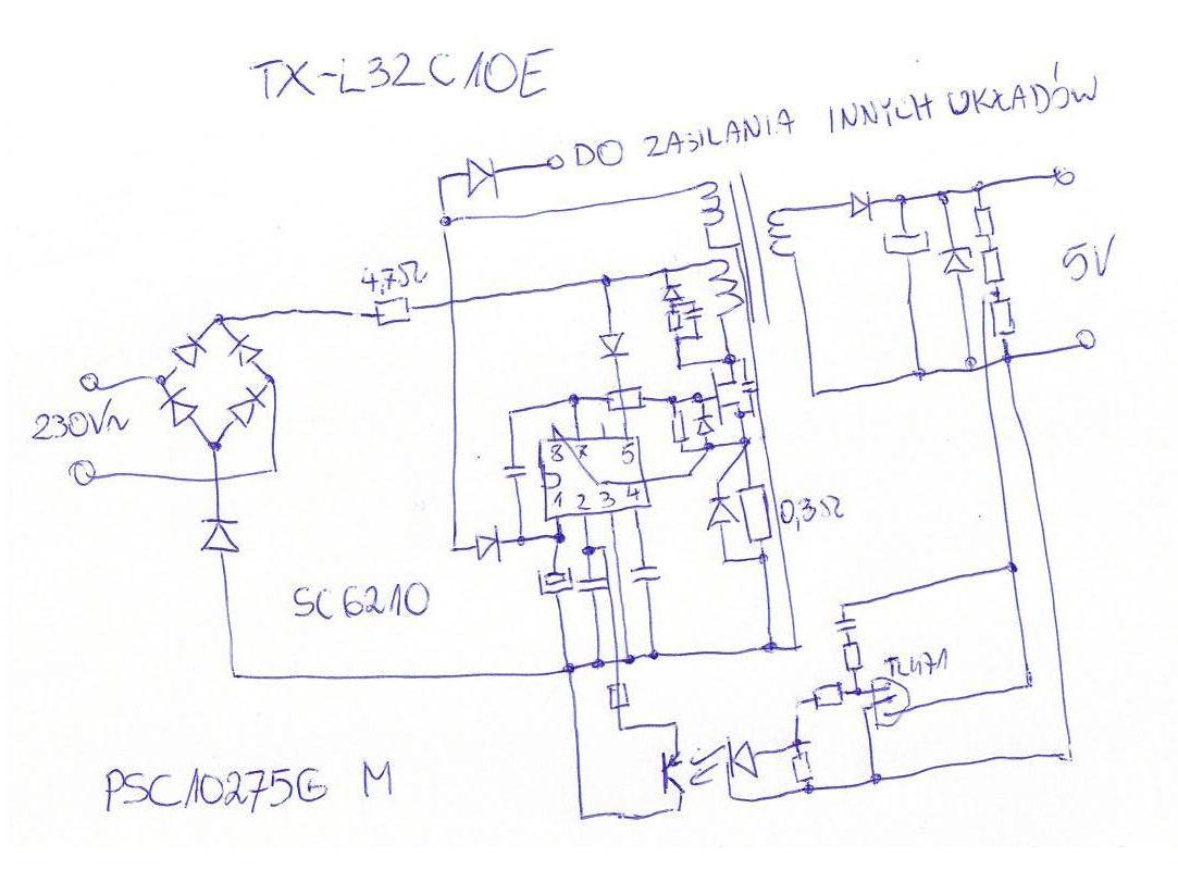 Panasonic TX-L32C10E - Zasilacz standby PSC10275G M na uk�adzie SC6210