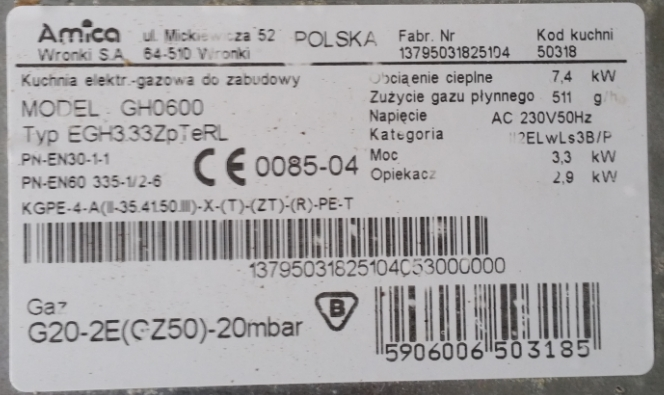 Amica EGH3.33ZpTeRL kuchenka gazowo-elektryczna - róźnicówka