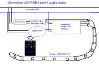 Obni�ony sufit- pod�wietlenie LED - 2 czujniki ruchu - korytarz