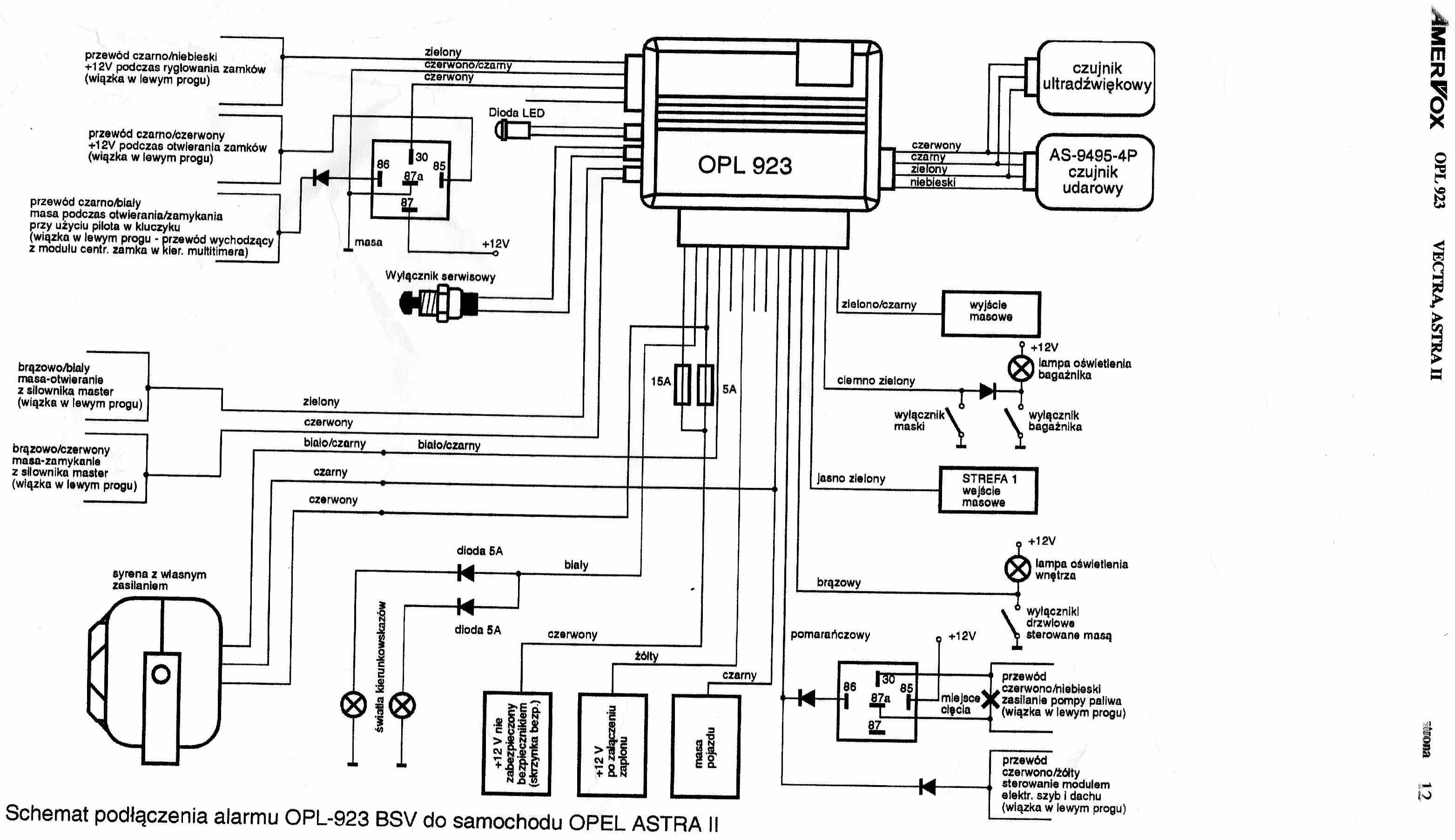 Schemat alarmu Opel - Amervox OPL 923
