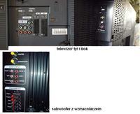 Jak razem podłączyć tv tx-32le8ps panasonic i zestaw głośników z subwo. AMX-62A?