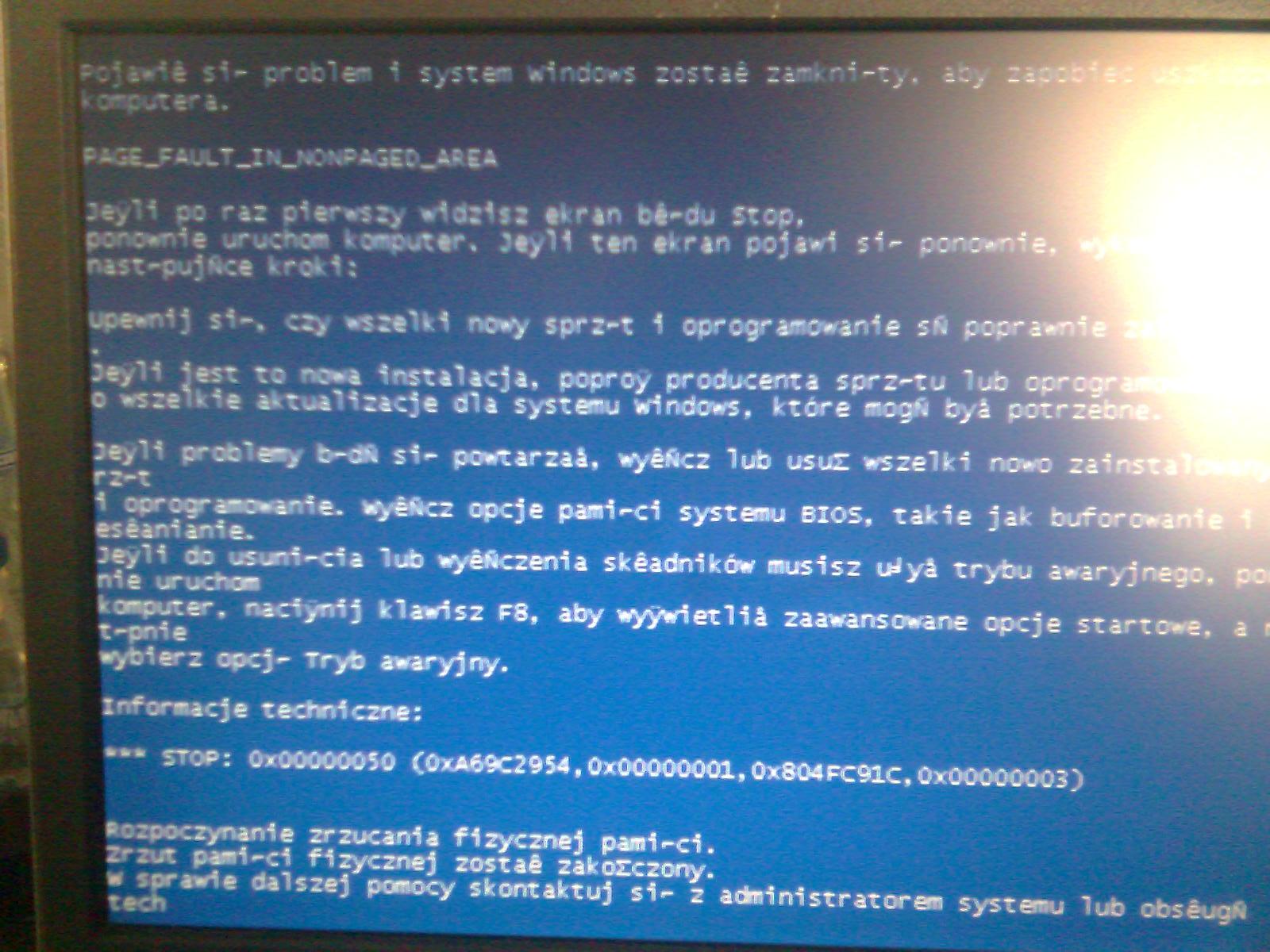 Bluescreen i problemy z uruchomieniem komputera