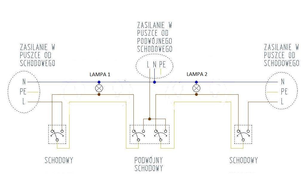 Zagadkowe Podłączenie 2 Lampy 2 Włączniki Schodowe I 1