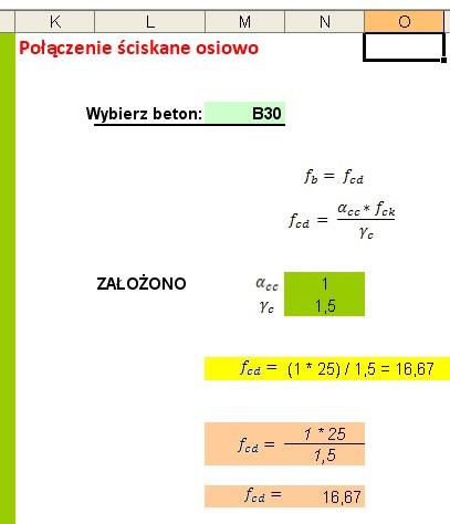 Excel tabelka i wzór. Wartość w zależności od parametru.