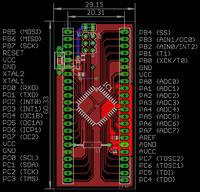 Adapter z Atmega32 w obudowie TQFP-44 do płytek stykowych