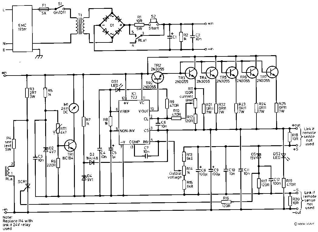 Zasilacz Regulowany Ben Spencer G4ynm 40a 132v Psu Transistor Regulator Circuit Can Adjustable Output Voltage