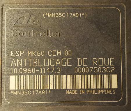 Citroen C5 - B��d ABS - uszk. sterownik ATE MK60 - pyt. o wymian�