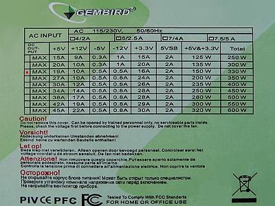 GEMBIRD model: MAX 330W uszkodzenia strony pierwotnej zasilacza.
