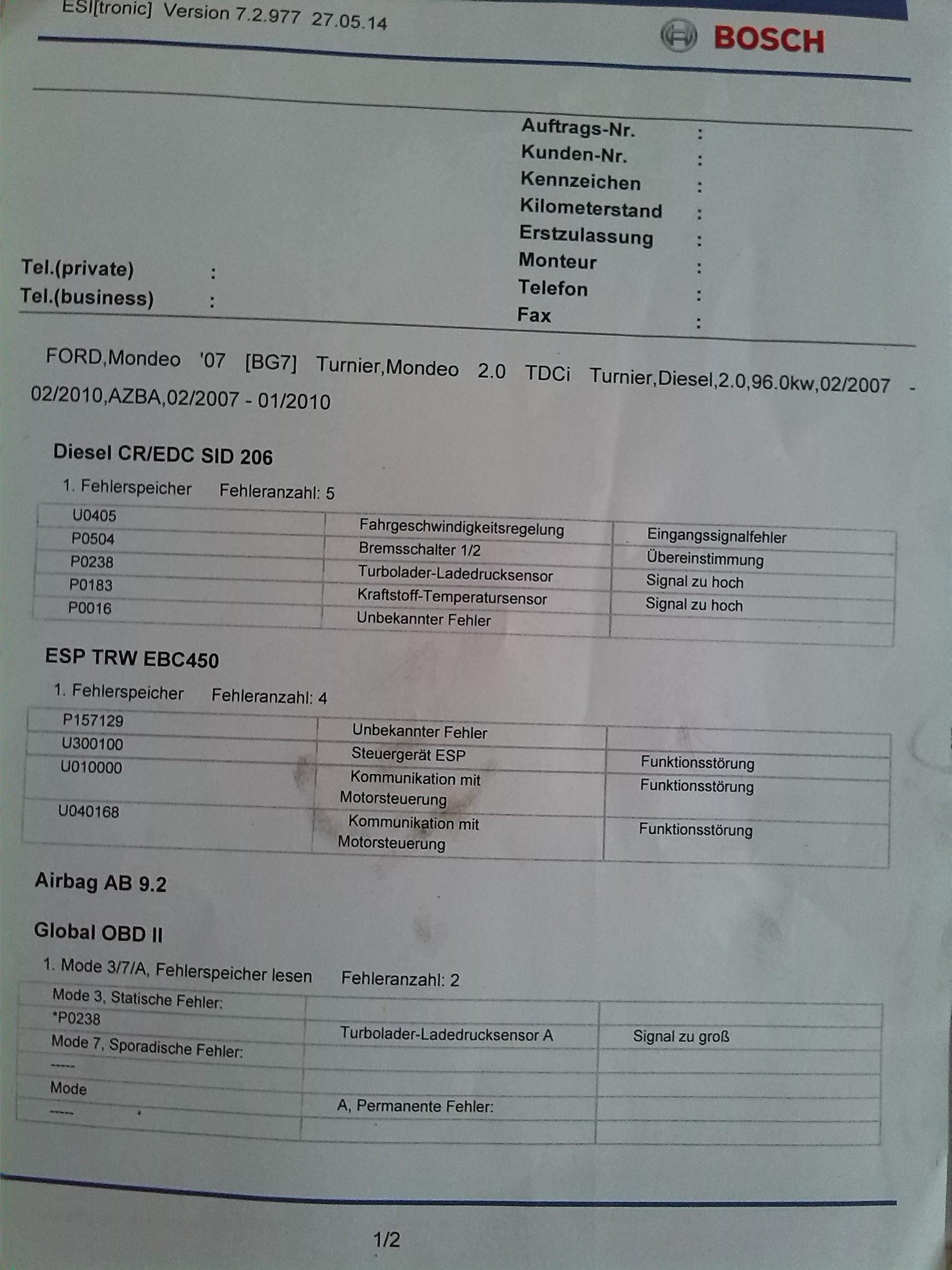 Esp check engine mk4 2 0 tdci 2007 kombi podczas jazdy w cza sie esp i engine