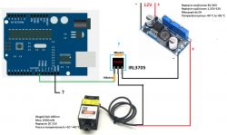 Laser 3.5W dostaje za mały prąd z arduino