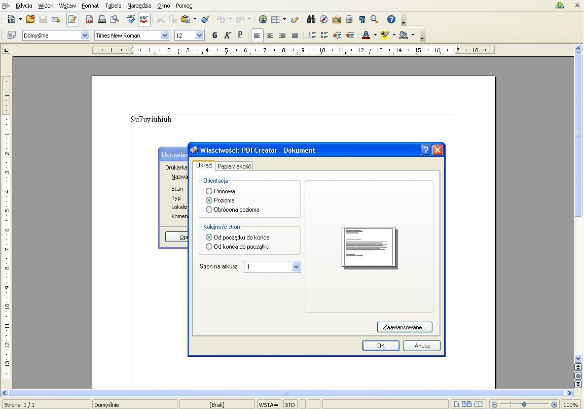 OpenOffice.org Writer- jak ustawi� kartk� w poziomie?