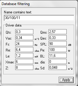 Wyliczenie litra�u kolumny g�o�nikowej bass-reflex opartej o GDN 30/100/11
