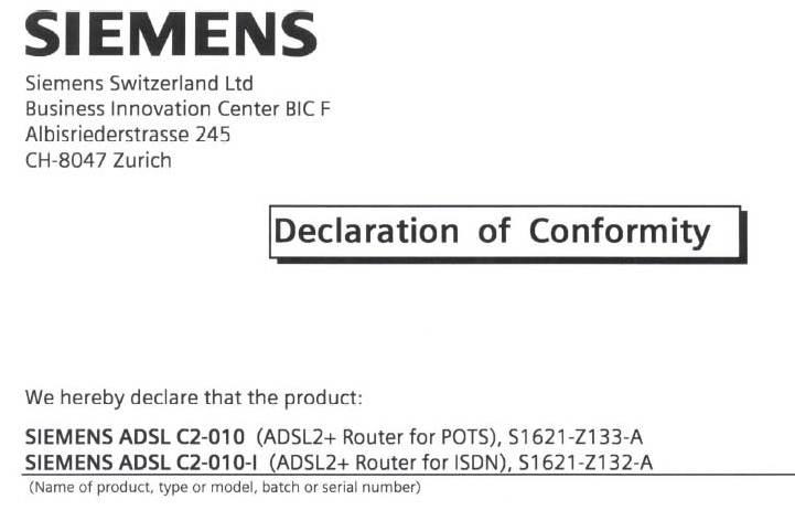 Siemens C2-010-I - / S1621-Z132-A modem ADSL ANNEX B - przer�bka na ANNEX A