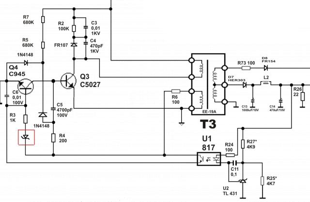 PROcomp model: KY-400W ATX spalony tranzystor Q1 i zwarta diode 1N4148.