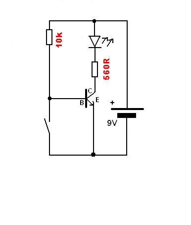 prosty układ z wykorzystaniem tranzystora oraz diody