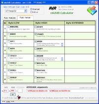 AVR fuse Calculator i programator graficzny z avrdude