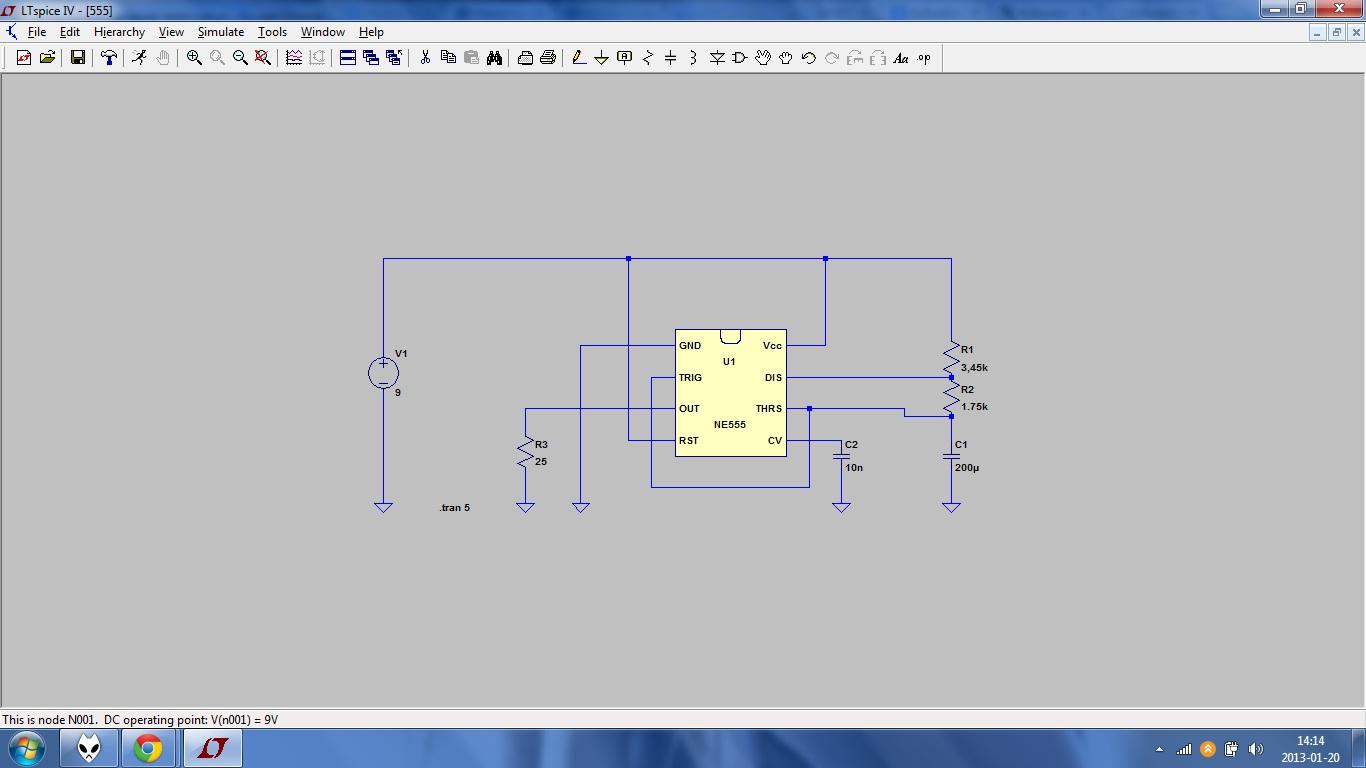 Symulacja LTspice NE555 - problem z zasilaniem
