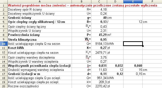 Szczeg�owe obliczenia koszt�w ogrzewania w okresie 3 lat i po ociepleniu