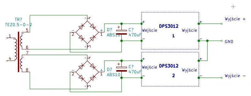 Zasilacz symetryczny na dwóch modułach DPS3012