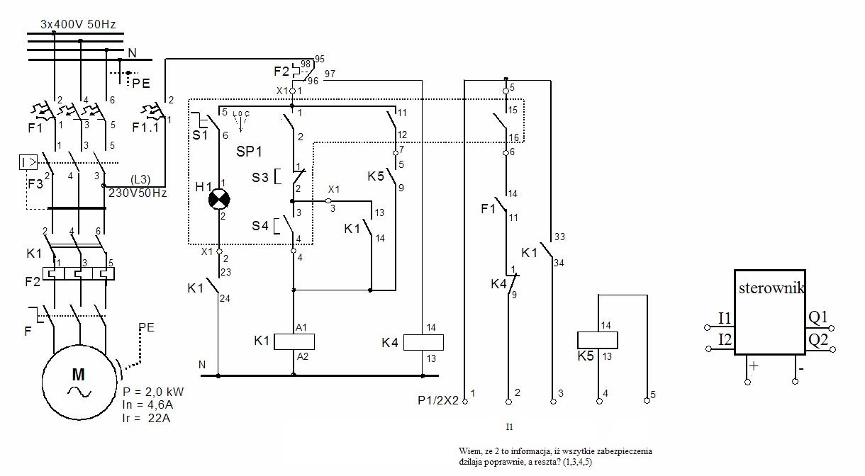 Schemat połaczenia czujnków, silnika ze sterownikiem.
