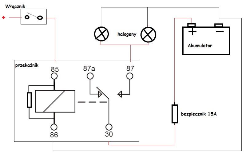 Jak pod��czy� halogeny przez przeka�nik w aucie?
