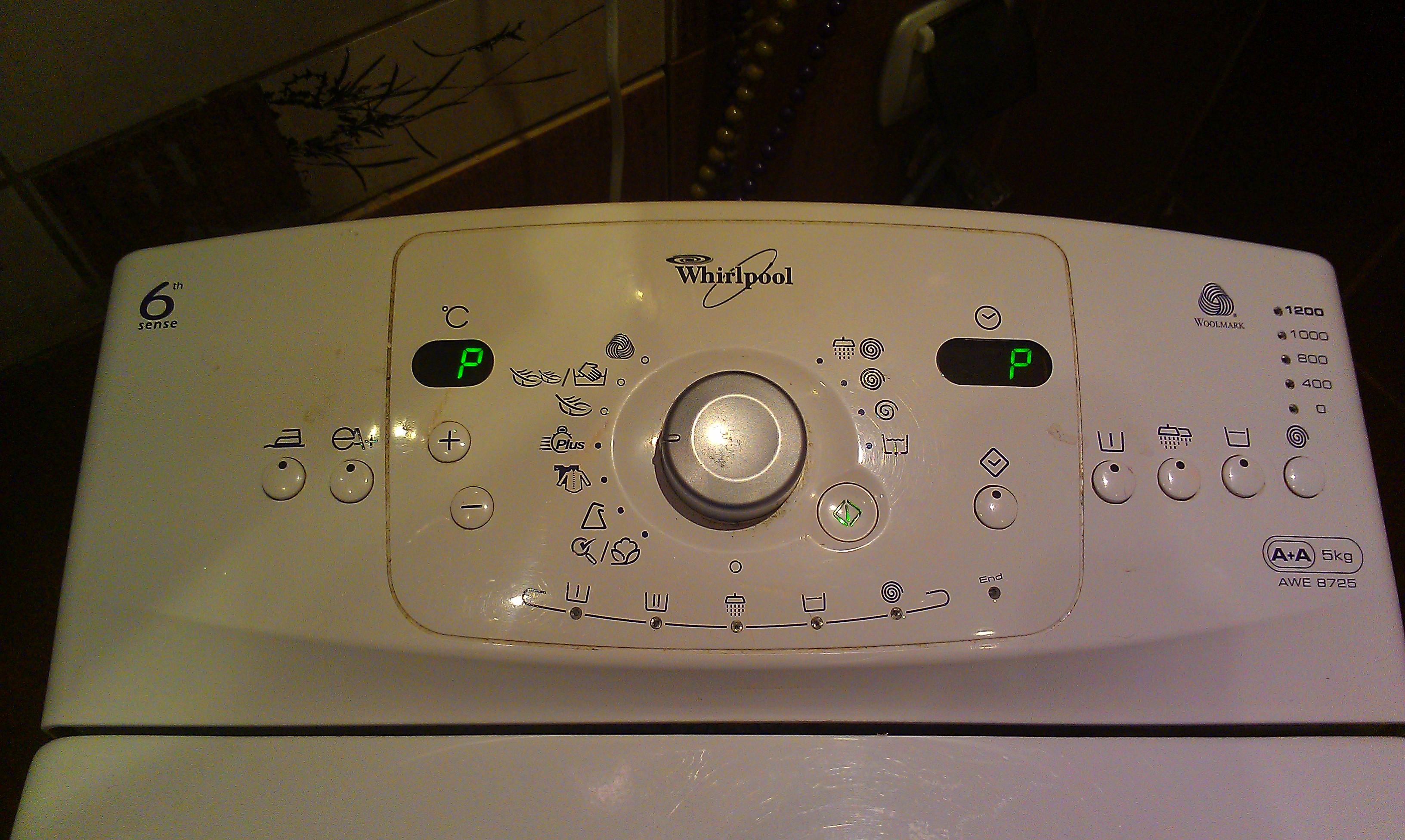"""Whirlpool AWE 8725 - Nie pierze, jeden obr�t i koniec B��d """"P"""" i &quot"""
