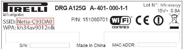 Pirelli DRG A125G hasło wifi