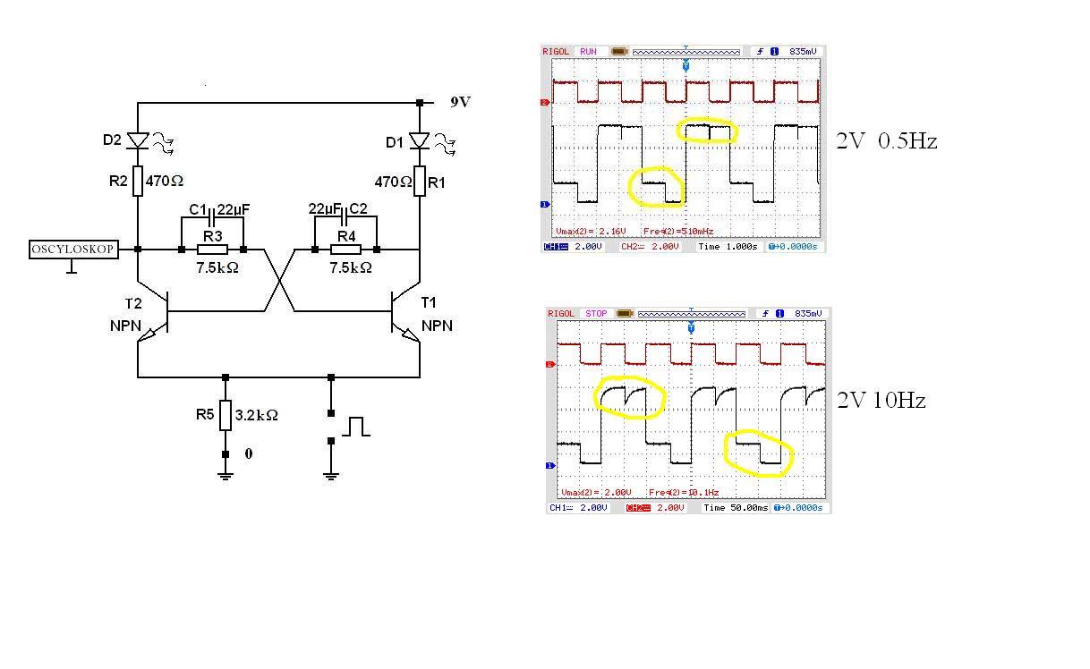 Tranzystorowy przerzutnik bistabilny; rola kondensator�w w sprz�eniu zwrotnym