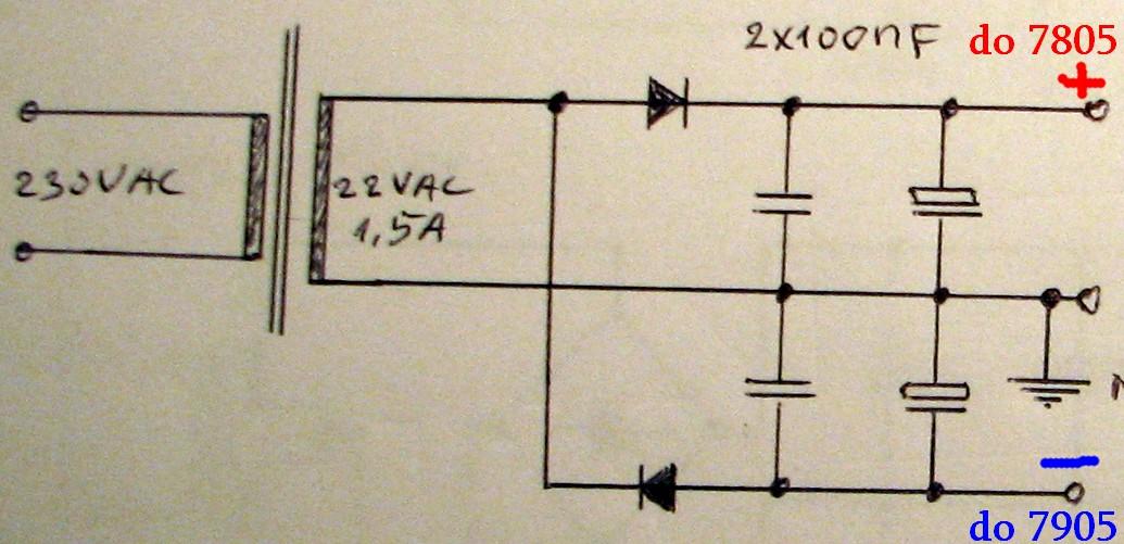 Zasilacz z -5V oraz +5V - Napi�cie -5V oraz +5V z transformatora 1x7V