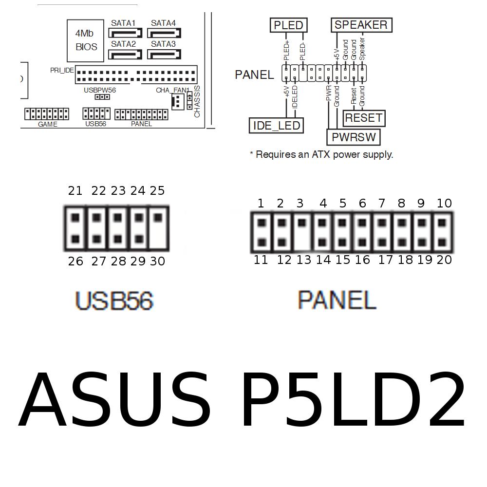 Материнская плата asus p5ld2 se схема подключения usb