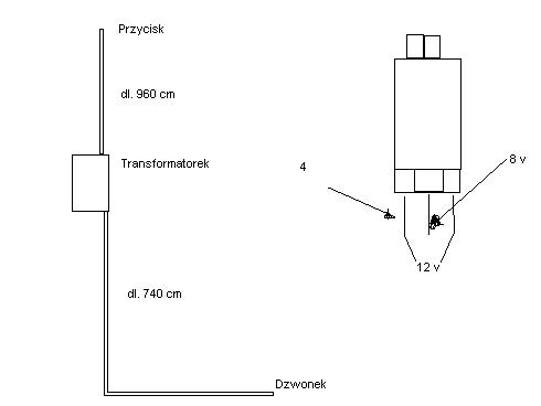 Dzwonek do drzwi z transformatorkiem 8 V ac