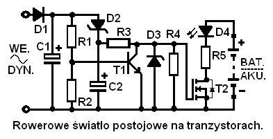 Dwutranzystorowe rowerowe �wiat�o postojowe, z funkcj� samoczynnego gaszenia.