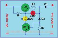 Schemat �adowarki 8.4V NiMH z sygnalizuj�c� diod� LED