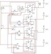 4bit synchroniczny licznik na przerzutnikach D