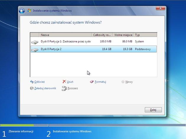 Przy instalacji Windowsa komputer nie widzi dysku