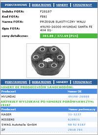 Hyundai Santa Fe II 2.2 CRDI. - ��cznik elastyczny wa�u.(sprz�gie�ko elastyczne)